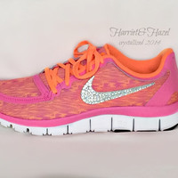 Women's Nike Free 5.0 v4 in Pink Glow/White-Atomic Orange with Swarovski crystal details
