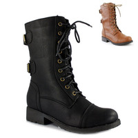 Women's Military Combat Boot Motorcycle Buckles Lace Army Wild Diva Timberly-02