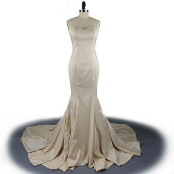 Evening Gowns Satin Mermaid Evening Long Party Dress