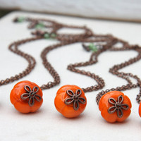 Buy 1 Get 1 Free. Pumpkin Necklace. Halloween Necklace. Harvest Fall Jewelry. Pumpkin Orange Lampwork Glass. Brass Chain.  Autumn Wedding