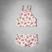 floral high neckline two-piece swimsuit