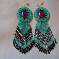 Native American Style Rosette beaded inlay earrings in seafoam green and hematite