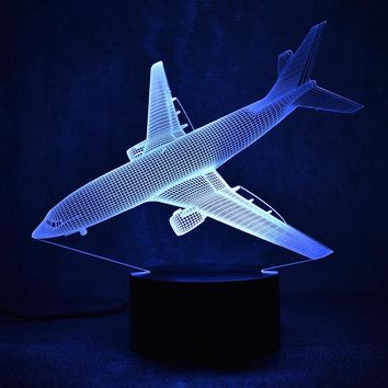 Airplane Descending 3D LED Night Light Lamp