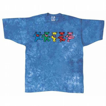 Grateful Dead - Dancing Bears Blue Tie Dye T-Shirt