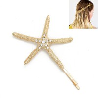Trendy Gold Starfish Crystal Hair clip For Women hairpins decorations for hair bijoux de tete hair clips tiaras for girls CF144