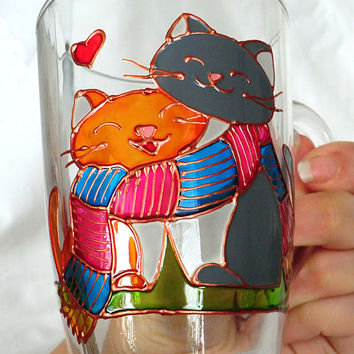 Coffee Mug Hand painted Painted glass mug Cat Mug Glass Coffee Mug Personalised Mugs