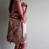 Burlap Jute Bag, Organic Upcycled Tribal Handbag With Cut Out Handle, Woven Summer Purse, Boho Macrame 70s  Market Tote, Rustic Crochet Bag
