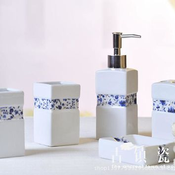 five-piece blue & white porcelain ceramic bathroom set toilet articles toothbrush holder tooth mug toiletries