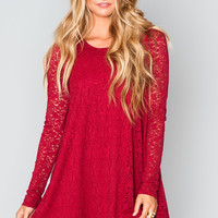 Show Me Your mumu Tyler Tunic ~ Tapestry Lace Burgundy