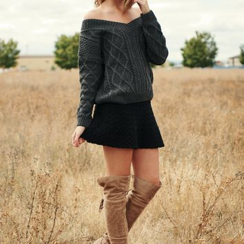 Hold Me Close Knitted Sweater (Charcoal)