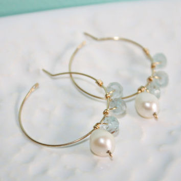 OOAK Faceted Aquamarine and White Freshwater Nugget Pearl Gold Fill Wire Wrapped Hoop Earrings Kaya Jewelry