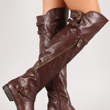 Double Buckle Thigh High Riding Boot