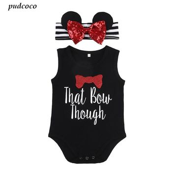 Baby Girl Summer minnie mouse cotton  Romper + Bow headband 2pcs