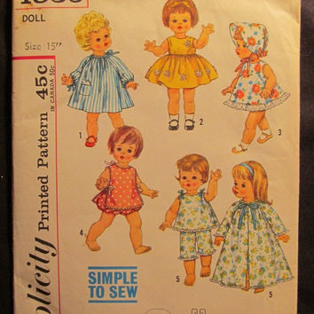 """SALE Uncut 1960's Simplicity Sewing Pattern, 4839! 15"""" 18"""" Doll Clothes Outifits/Smock Dress/60's Party Dress/Hats/Bonnets/Pajamas/Robes/Pan"""