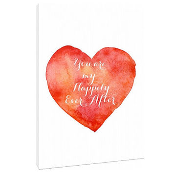 You are my happily ever after - heart love letter - Custom Art Print -Valentines day - Home Decor - wall art - Valentine love note