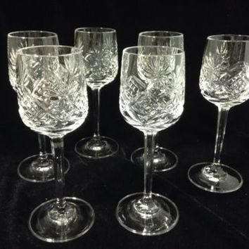 Beautiful Bohemian Czech Clear Cut Crystal Liqueur Glasses Cordials