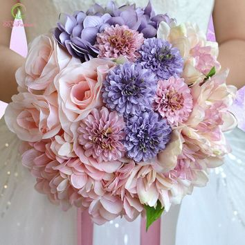 New bride holding bouquet wedding bouquets photography sweet romantic silk flower bridal bouquet props married