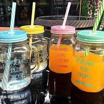 Vintage Glass Mason Jar Cup Fruit Ice Cream Infusion Clear Gradients Personality Cold Drink Cups