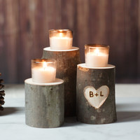 Personalized Candle Holder - Rustic wedding Centerpiece