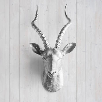 The Maasai Silver Faux Antelope / Gazelle Head