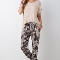 Ash Tie Dyed Printed Jogger Pants