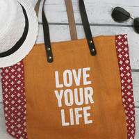 Fun Phrases Graphic Printed Burlap Totes