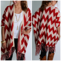 Piper Creek Wine Chevron Fringe Cardigan - One