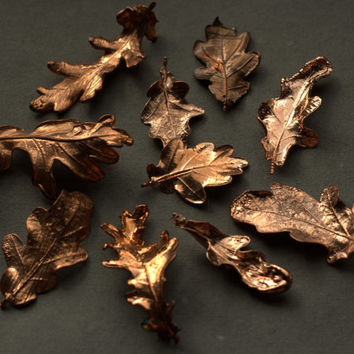 Natural oak leaves electroformed with copper, botanical jewelry, oak pendant, boho style, natural style, real leaf