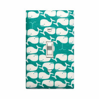 Whale Light Switch Plate Cover / Boys Baby Nursery / Preppy Nautical / Dark Aqua Turquoise Teal Kids Room Bathroom