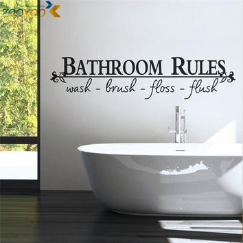 bathroom rules home decoration creative quote wall decals zooyoo8044 decorative adesivo de parede removable vinyl wall stickers