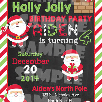 SANTA BIRTHDAY INVITATION - Santa Invite - Christmas Birthday - Winter Birthday - Christmas Party - Holiday Party Chalkboard Red Green White