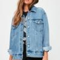 Missguided - Blue Oversized Denim Jacket