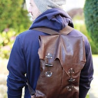 THE JORDAN Uni-Sex Brown Backpack with Industrial Suspenders