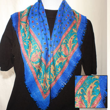 Gold Metallic Thread Blue Scarf