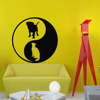 Wall Decal Yin Yang Dog Sign For Pets Shop Decor Grooming Salon Home