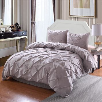 Luxury Duvet Cover Set White/Black/Grey Pinch Pleat 2/3pcs Twin/Queen/King Bedding Sets (No filling,No sheet)