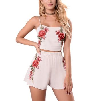 Fashion sexy straps embroidery flower backless two piece