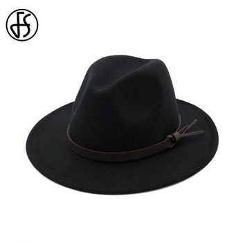 FS Vintage Black Woolen Fedora Hat For Women Wide Brim Autumn Winter Ladies  Trilby Hats Jazz Cap