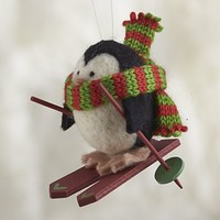 Wooly Winter Sport Penguin Skiing Ornament in View All Ornaments | Crate&Barrel