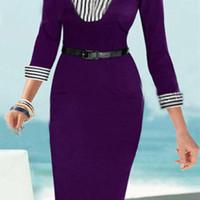 Purple Turn-Down Collar Striped Twinset Dress