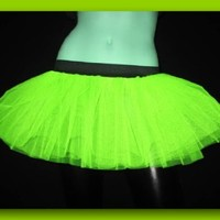 Uv Neon Lime Yellow Mini Tutu Skirt Petticoat Punk Rave Dance Fancy Costume Dress Party