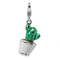 Sterling Silver 3-D Enameled Potted Green Cactus w/Lobster Clasp Charm QCC409