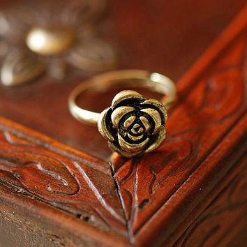 Adjustable Size  Gift Rose Bronze Sweet Elegant Style Beautiful Ancient Personality Flower Rings SM6