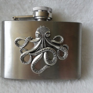 Steampunk octopus  stainless steel hip flask - 4 oz