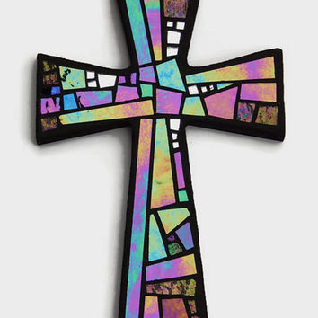 "Mosaic Wall Cross, Black with Iridescent + Textured Glass + Silver Mirror,  Handmade Stained Glass Mosaic Cross Wall Decor, 12"" x 8"""