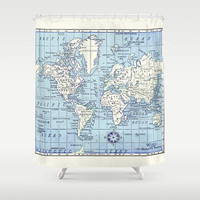 A Really Nice Map Shower Curtain - Historical map - Home Decor - Bathroom - travel decor, blue and white fabric, bathroom, crisp, clean