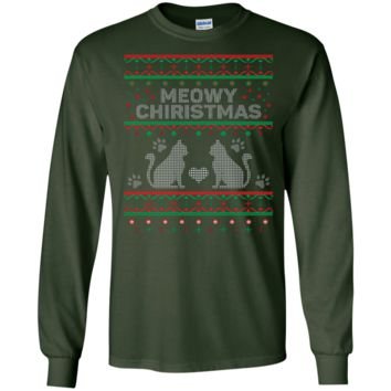 Meowy Christmas Cat Ugly Christmas Sweater Design Long Sleeve