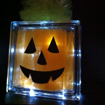 Glass Block Halloween Lighted Pumpkin