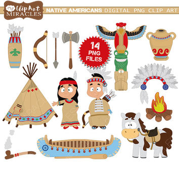 Indian clipart, instant download native americans clip art, tribal clipart, cute tribal graphics / commercial or personal use