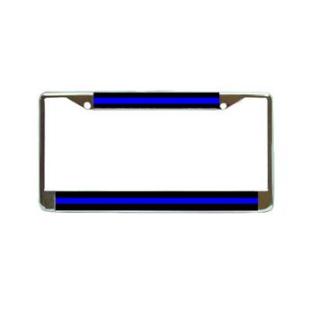 Thin Blue Line Flag Chrome Metal License Plate Frame Car Tag Holder